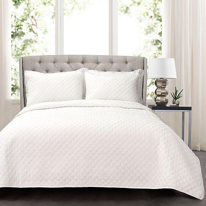 Alternate image 1 for Lush Decor Ava 3-Piece Oversized King Quilt Set in White