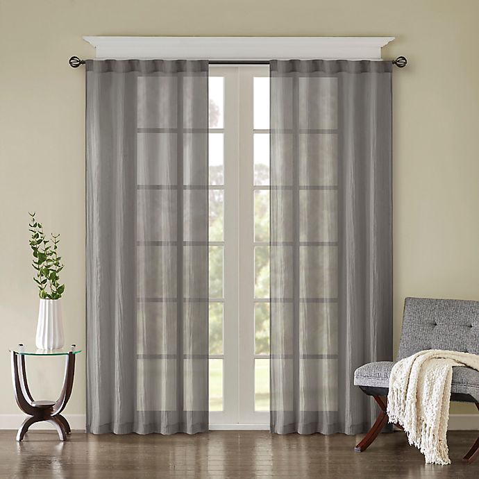 Alternate image 1 for Madison Park Harper Solid Crushed 95-Inch Rod Pocket/Back Tab Window Curtain Panel Pair in Grey