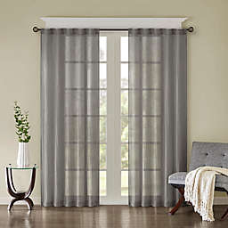 Madison Park Harper Solid Crushed 63-Inch Rod Pocket Curtain Panels in Grey (Set of 2)