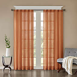 Madison Park Harper Solid Crushed 95-Inch Rod Pocket Curtain Panels in Spice (Set of 2)