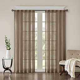 Madison Park Harper Solid Crushed 84-Inch Rod Pocket Curtain Panels in Taupe (Set of 2)