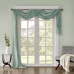 Madison Park Harper Solid Crushed Sheer 216-Inch Scarf Window Valance in Aqua