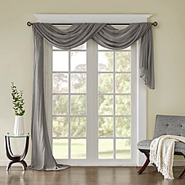 Madison Park Harper Solid Crushed Sheer Scarf Window Valance