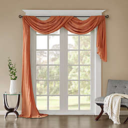 Madison Park Harper Solid Crushed Sheer 216-Inch Scarf Window Valance in Spice
