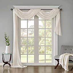 Madison Park Harper Solid Crushed Sheer 144-Inch Scarf Window Valance in White