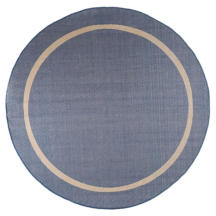 Alternate image 1 for Nottingham Home Contemporary 8-Foot Round Indoor/Outdoor Area Rug in Blue/Cream