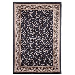 Nottingham Home Ornate Vine 8-Foot x 10-Foot Indoor/Outdoor Area Rug in Black/Tan