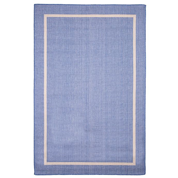 Alternate image 1 for Nottingham Home Border 8-Foot x 10-Foot Indoor/Outdoor Area Rug in Blue
