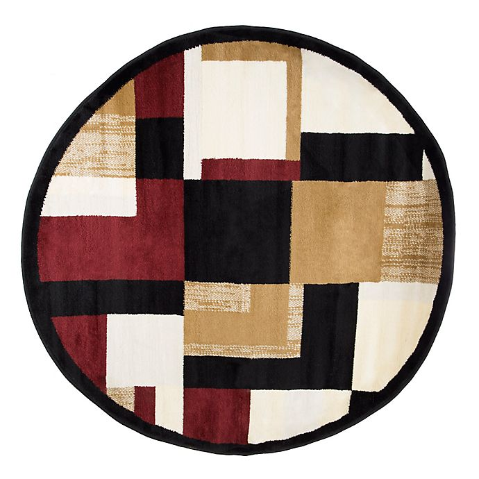 Nottingham Home Block 5 Foot Round Area Rug In Black Red Bed Bath