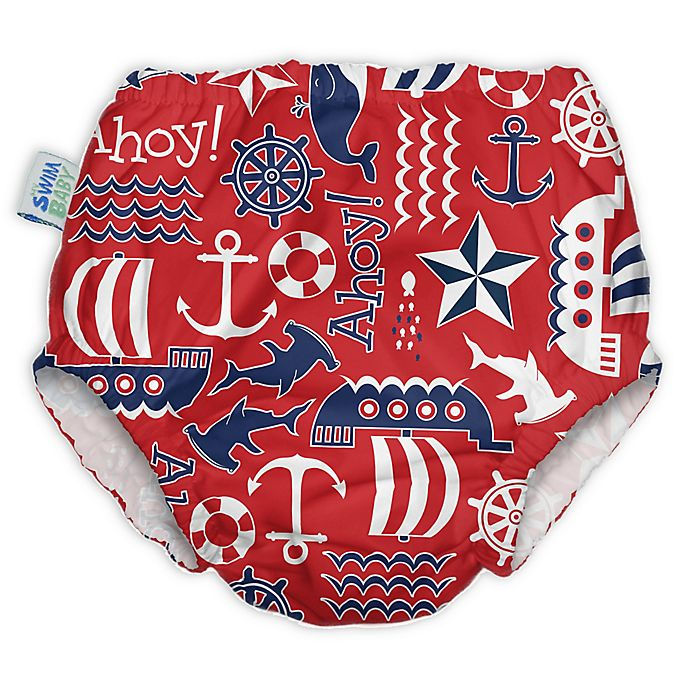 Alternate image 1 for My Swim Baby® Ahoy Reusable Swim Diaper in Red
