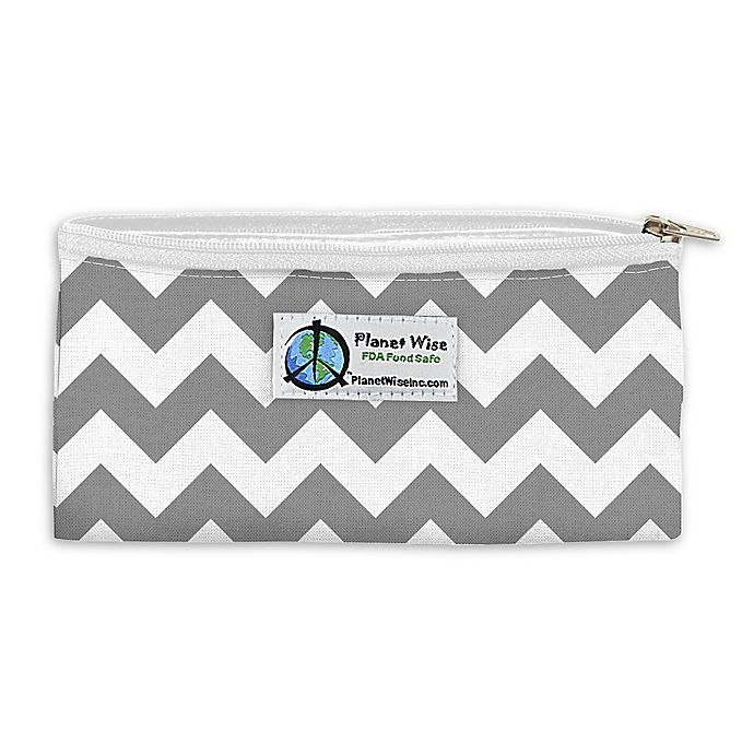 Alternate image 1 for Planet Wise™ Chevron Zipper Snack Bag in Grey