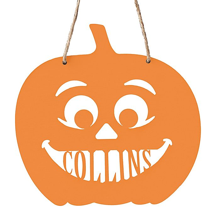 Alternate image 1 for Pumpkin Hanging Wall Plaque in Orange