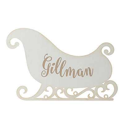 Antique Wood Sleigh Hanging Wall Plaque in White