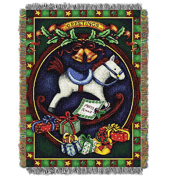 Alternate image 1 for Holiday Hobby Horse Woven Tapestry Throw Blanket