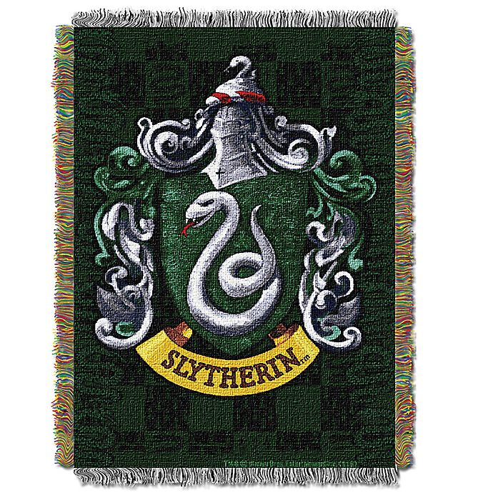 Alternate image 1 for Harry Potter™ Slytherin Woven Tapestry Throw Blanket