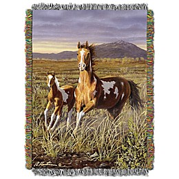 """Hautman Brothers  """"Running Pintos"""" Woven Tapestry Throw Blanket"""