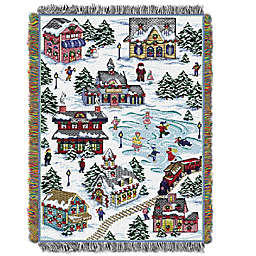 Snowy Village Tapestry Throw