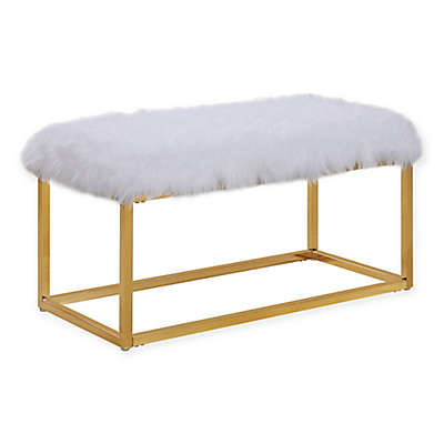 Chic Home Audrey Ottoman Bench in White/Gold