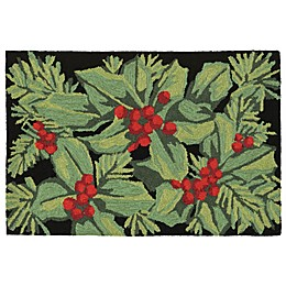 Liora Manne Hollyberries Indoor/Outdoor Rug in Black