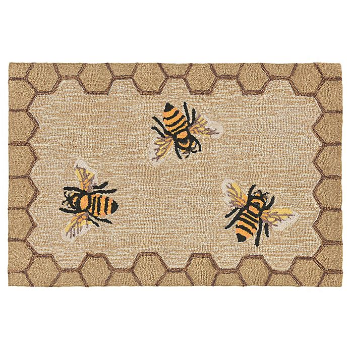 Alternate image 1 for Liora Manne Honeycomb Bee Indoor/Outdoor 2-Foot x 3-Foot Accent Rug in Natural