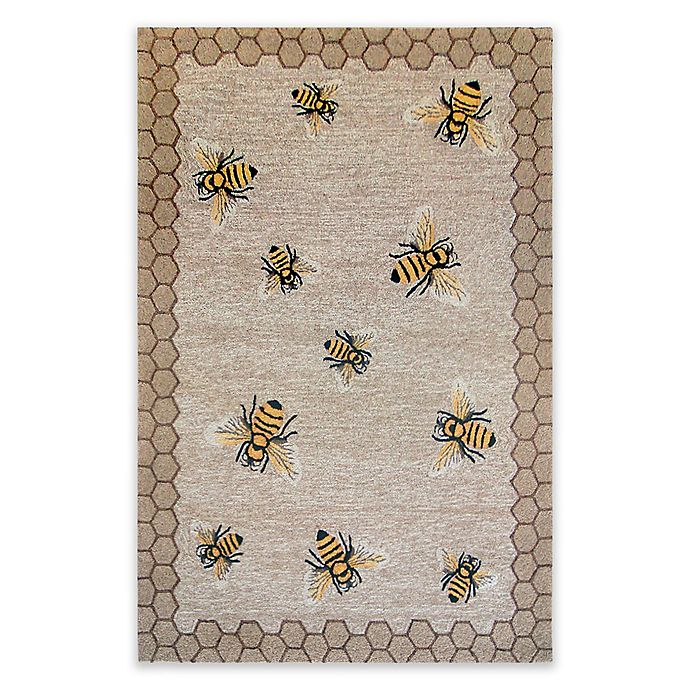 Alternate image 1 for Liora Manne Honeycomb Bee Indoor/Outdoor 5-Foot x 7-Foot 6-Inch Area Rug in Natural