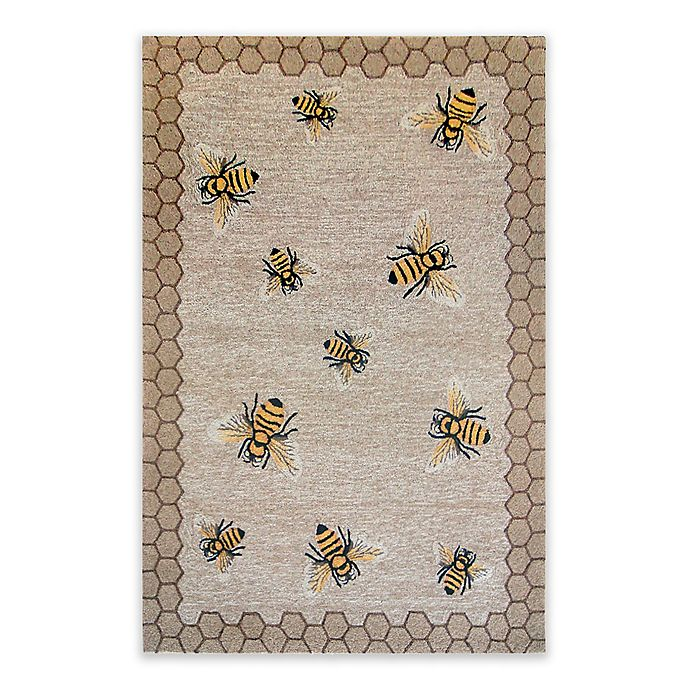 Alternate image 1 for Liora Manne Honeycomb Bee Indoor/Outdoor 7-Foot 6-Inch x 9-Foot 6-Inch Area Rug in Natural