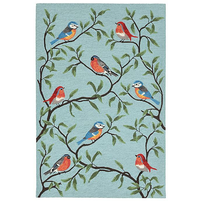 Alternate image 1 for Liora Manne Birds On Branches Indoor/Outdoor Rug in Aqua