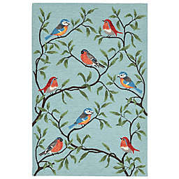 Liora Manne Birds On Branches Indoor/Outdoor Rug in Aqua