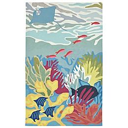 Liora Manne Ocean View Indoor/Outdoor Rug in Blue