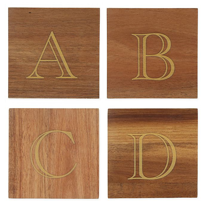 Alternate image 1 for Thirstystone® Acacia Monogram Letter Single Coaster in Gold