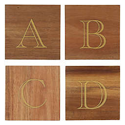 Thirstystone® Acacia Monogram Letter Single Coaster in Gold