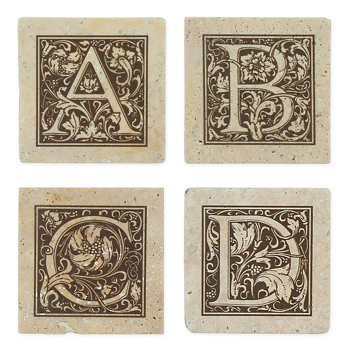 Alternate image 1 for Thirstrystone® Travertine Monogram \