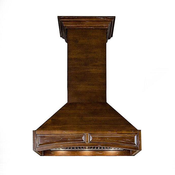 Alternate image 1 for ZLINE Designer Series 321RR Wooden Wall Range Hood with Brown Molding