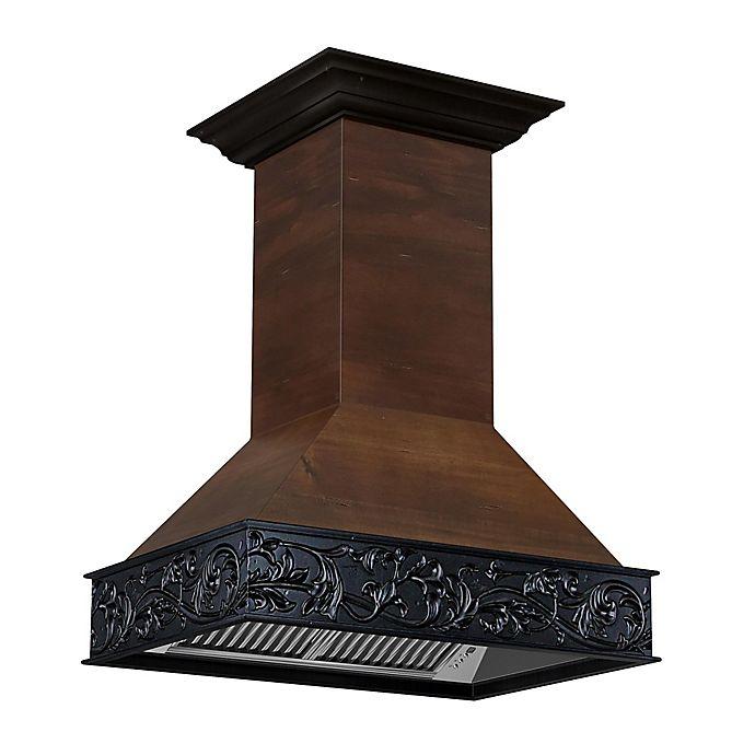 Alternate image 1 for ZLINE Designer Series 9393AR-36 Wooden Island Range Hood with Black Floral Crown