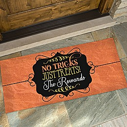 No Tricks, Just Treats Door Mat
