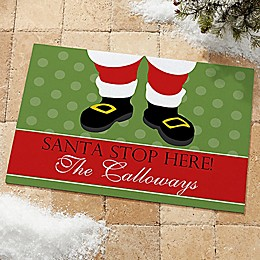 Santa Stop Here! Door Mat