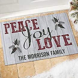 Peace, Joy, Love Door Mat