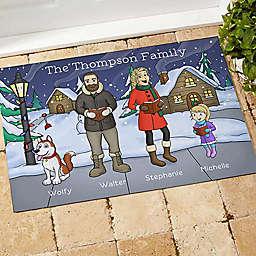 Caroling Family Characters Door Mat