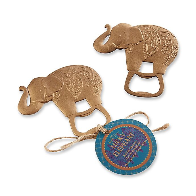 Alternate image 1 for Kate Aspen® 12-Pack Lucky Golden Elephant Bottle Openers