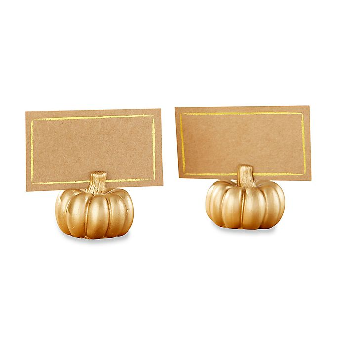 Alternate image 1 for Kate Aspen® Pumpkin Place Card Holders in Gold (Set of 12)