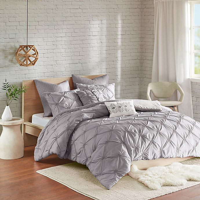 Alternate image 1 for Urban Habitat Talia 7-Piece Elastic Embroidered Chambray Duvet Set