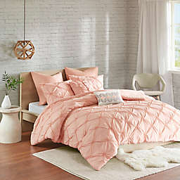 Urban Habitat Talia 7-Piece Elastic Embroidered Chambray King/California King Duvet Set in Pink