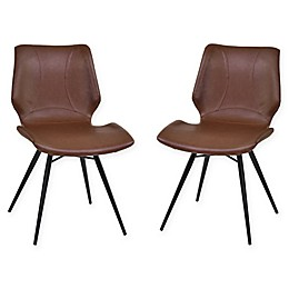 Armen Living Zurich Brushed Steel Dining Chairs (Set of 2)