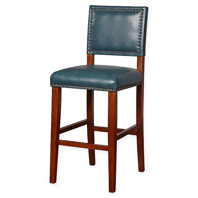 Alternate image 1 for Linon Home Blake Vinyl Upholstered Bar Stool in Pacific Blue/Brown