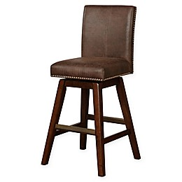 Linon Home Cedar Wood Swivel Stool in Chestnut Brown
