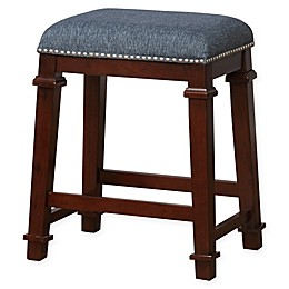 Linon Home Kyley Denim Upholstered Stool