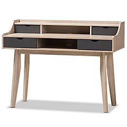 Baxton Studio Fella 4-Drawer Study Desk in Light Brown