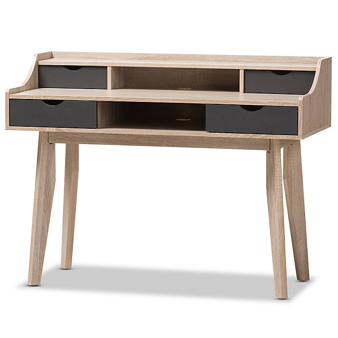 Alternate image 1 for Baxton Studio Fella 4-Drawer Study Desk in Light Brown