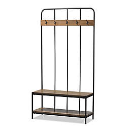 Baxton Studio Hull Coat Rack Bench in Black