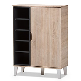 Baxton Studio Adelina 1-Door Wood Shoe Cabinet in Light Brown
